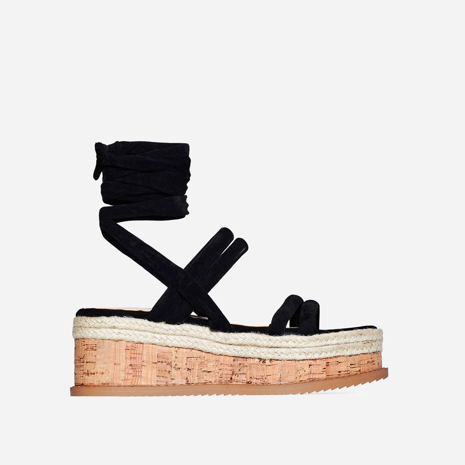 Whisper Lace Up Espadrille Flatform In Black Faux Suede