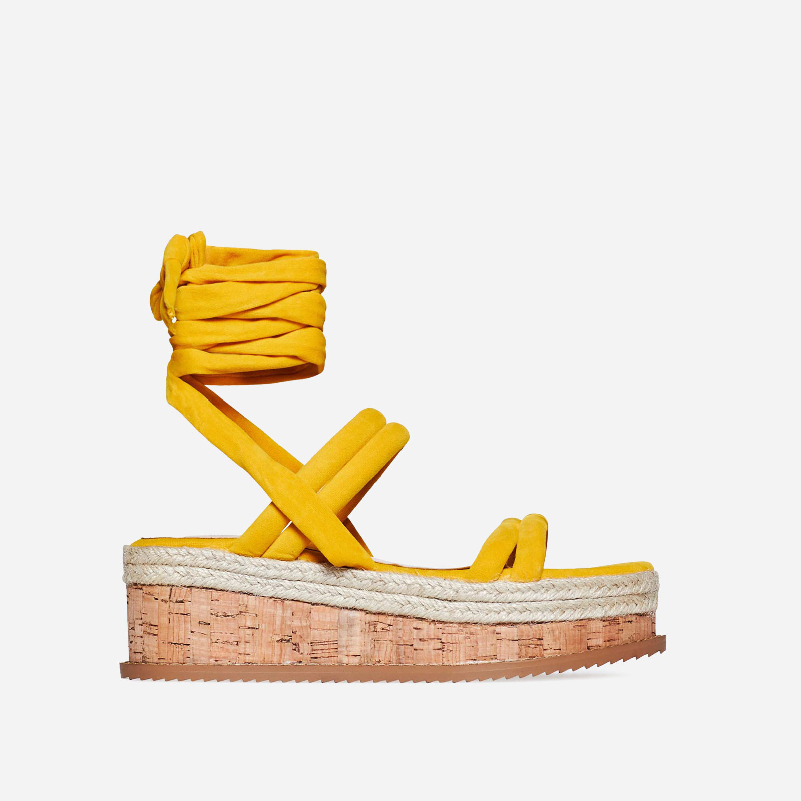 Whisper Lace Up Espadrille Flatform In Yellow Faux Suede