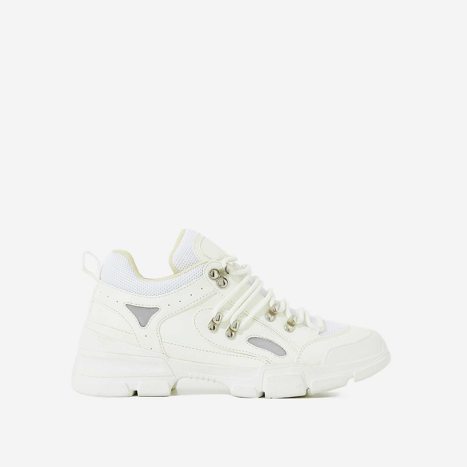 Shorty Hiker Trainer In White Faux Leather