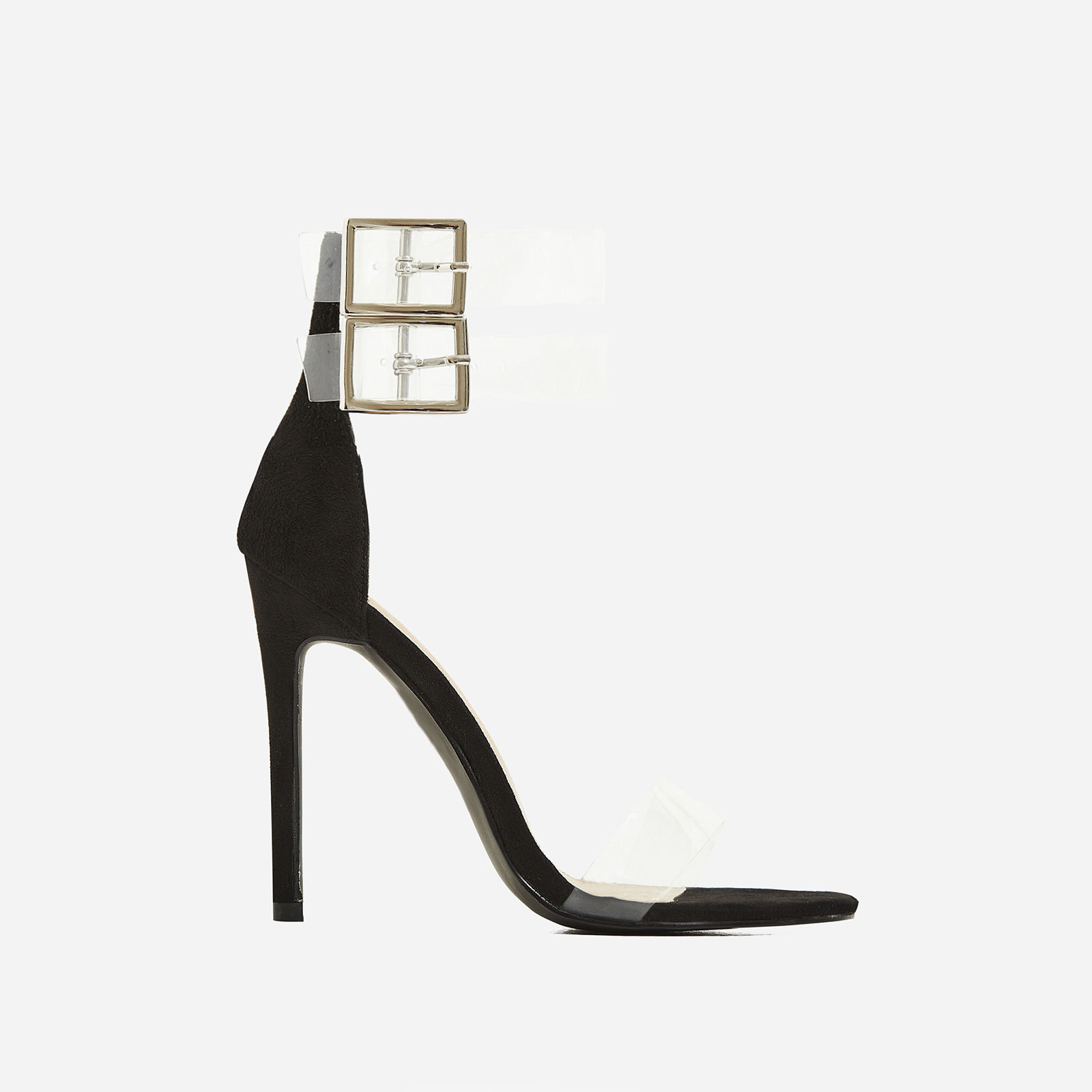 Winnie Double Strap Perspex Barely There Heel In Black Faux Suede