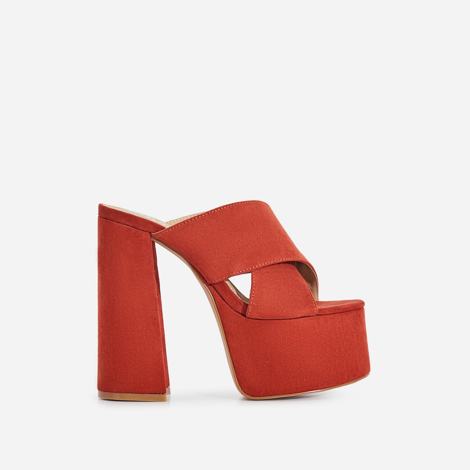 Yaya Platform Peep Toe Mule In Brick Red Faux Suede