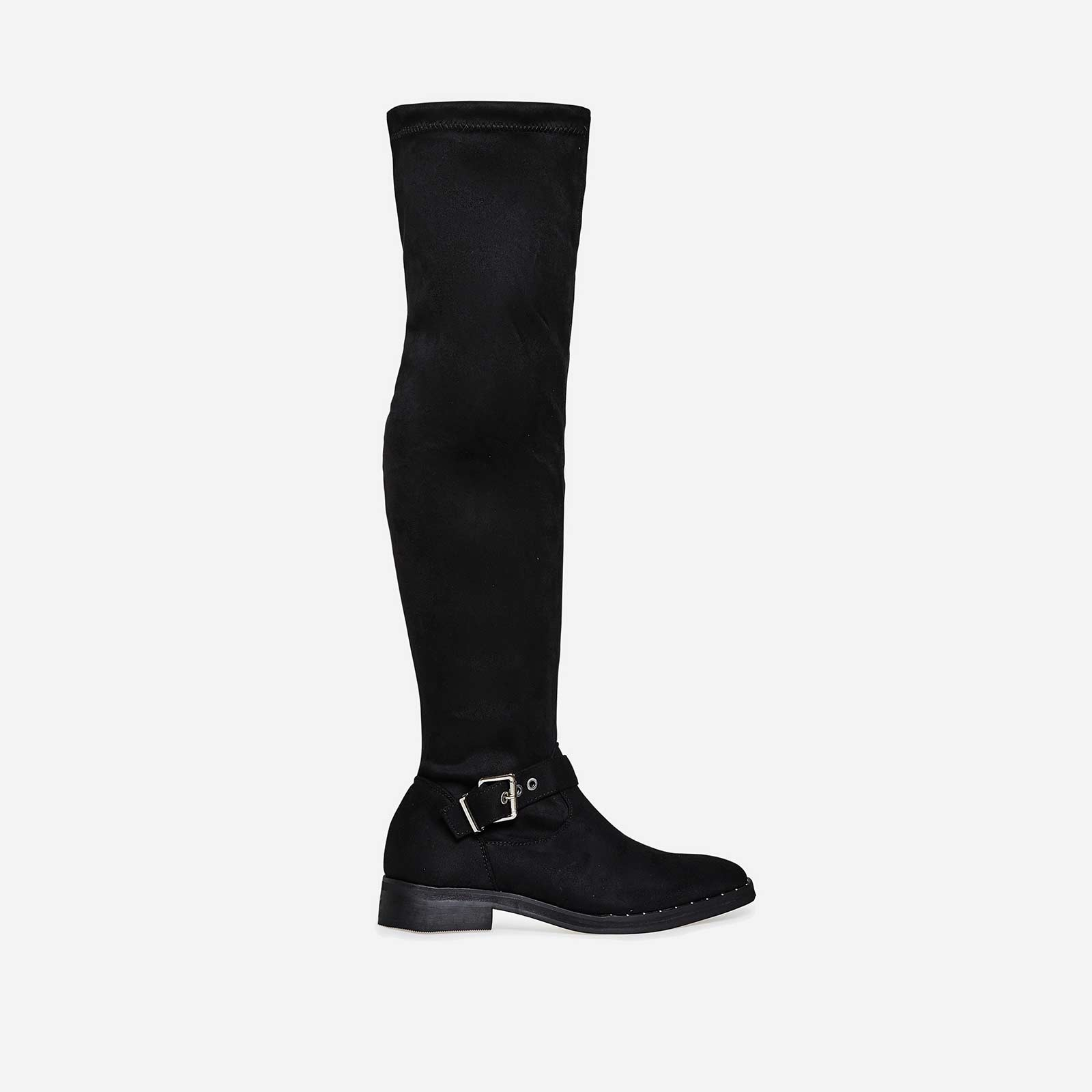 Anastasia Buckle Detail Long Boot In Black Faux Suede