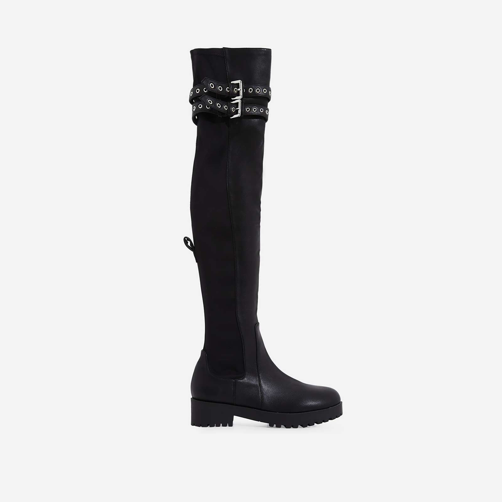 Yoel Over The Knee Long Boot In Black Faux Leather