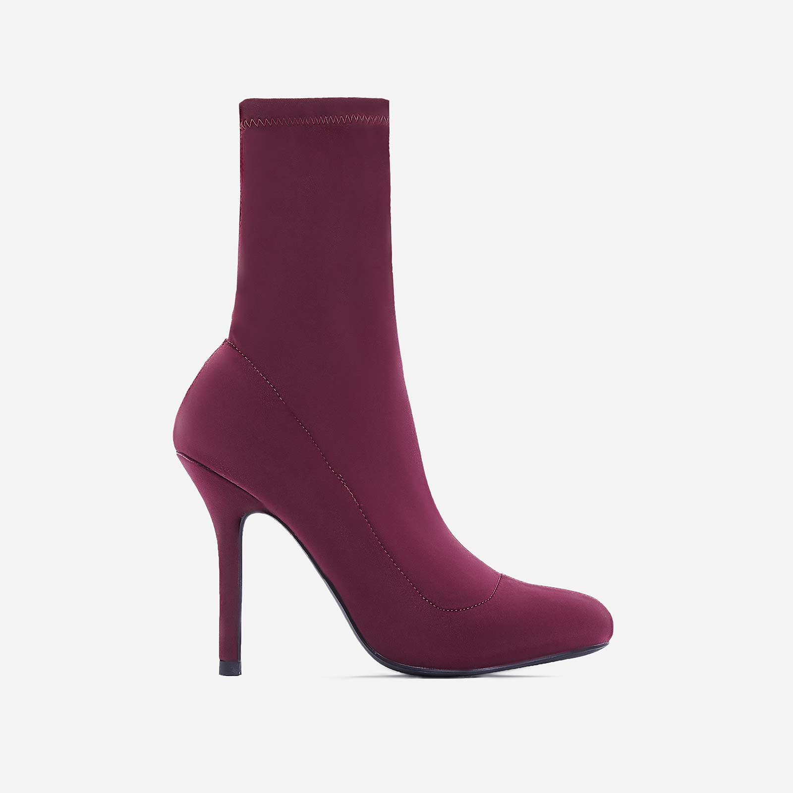 Zab Slouched Ankle Sock Boot In Burgundy Lycra