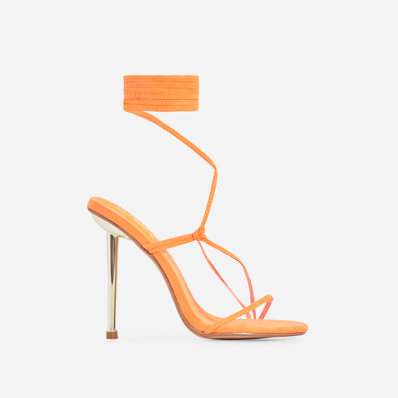 Zizi Lace Up Heel In Orange Faux Suede