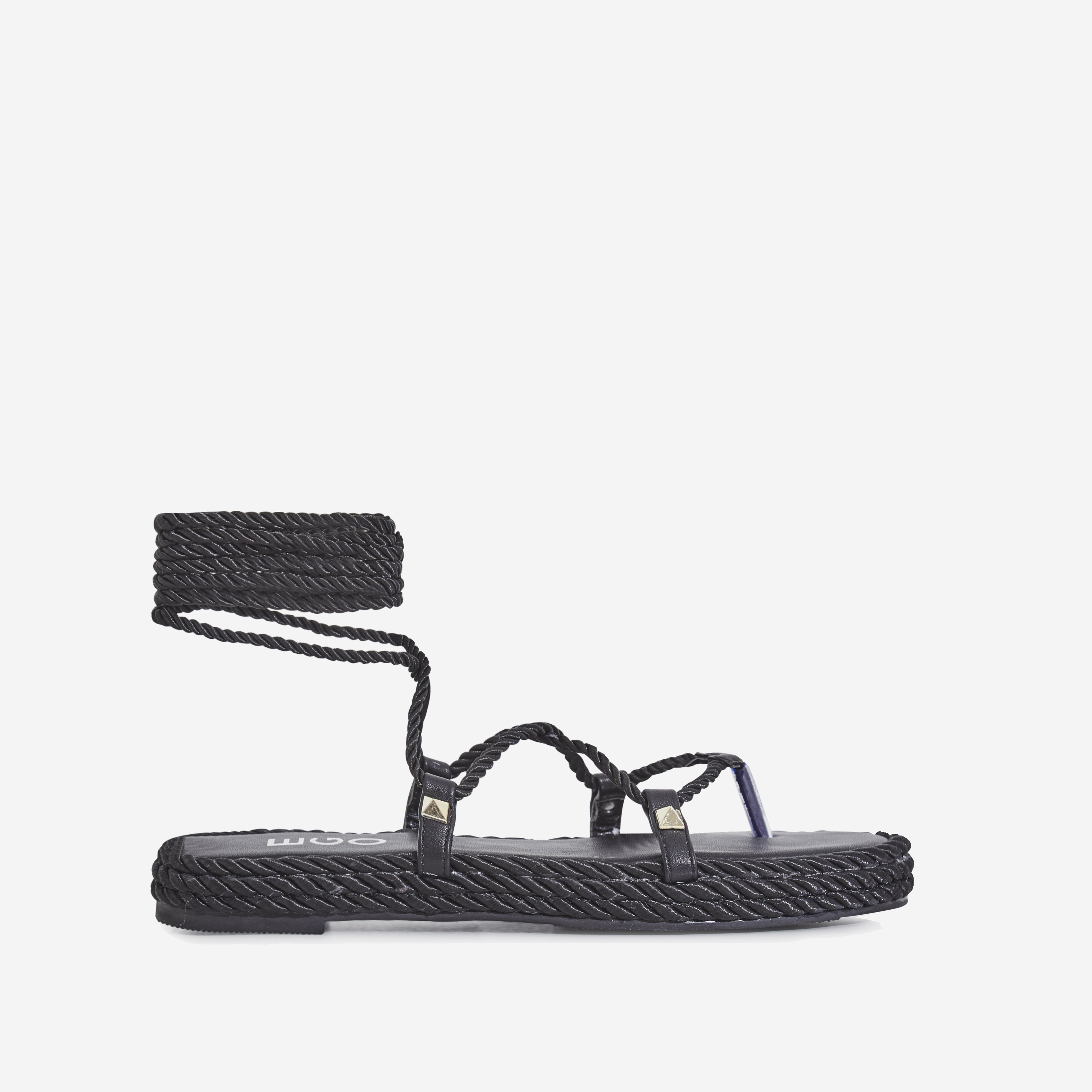 Zoe Lace Up Rope Espadrille Sandal In Black Faux Leather